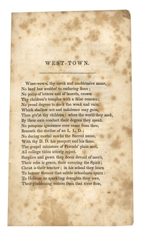 West-Town. [Westtown School; Chester County, Pennsylvania]