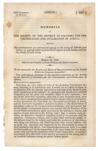 Memorial of The Society of the District of Columbia for the Colonization and Civilization of...