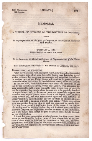 Memorial of a Number of Citizens of the District of Columbia, adverse To any legislation on the...
