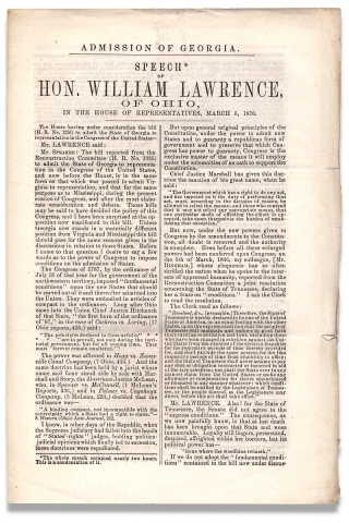 Admission of Georgia. Speech of Hon. William Lawrence, of Ohio, in the House of Representatives,...