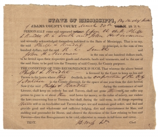 1822 Natchez, Mississippi Inn and Tavern License; Partly Printed Document]. Clerk H. Moss, A....