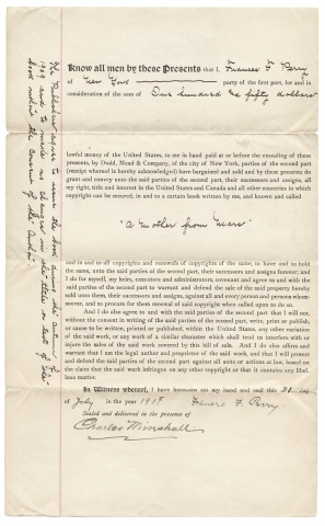 "1908 Publishing Contract for Frances F. Perry's ""A Mother from Mars,"" published by Dodd,..."