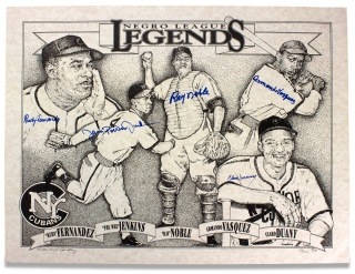 Negro League Legends. [limited edition print autographed by 5 New York Cubans players]....