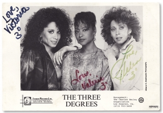 The Three Degrees. [caption title of publicity card for an African American women's vocal...