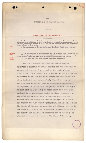[1904 Springfield and Eastern Railroad of Illinois and New Jersey Articles and Certificate of Incorporation, plus 10 Sangamon County, Illinois Railroad, Street Railway, and/or Utility Corporate Documents].