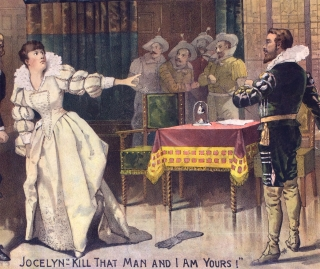 Rose Coghlan as Jocelyn. [chromolithographic theatrical poster for a burlesque player and leading actress in a cross-dressing role]