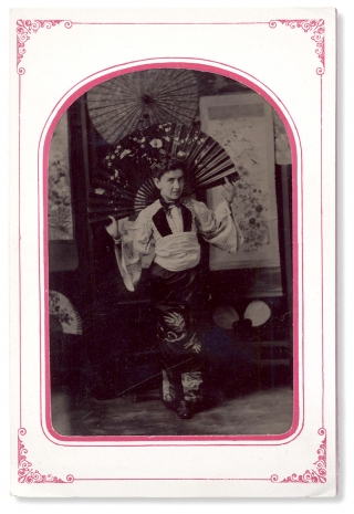 C.1880s–1890s Tintype Photograph of a Western Woman in Japanese Costume]. Unkwn
