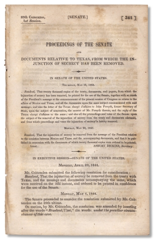 1844 U.S.–Republic of Texas treaty of annexation:] Proceedings of the Senate and Documents...