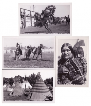[Calgary Stampede: 9 Real Photo Post Cards of Rodeo, Native Americans, Horse Races].