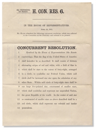 History of the American Flag:] 63d Congress, 1st Session. H. Con. Res. 6. In the House of...