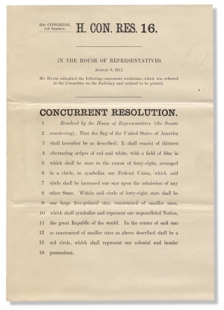 History of the American Flag:] 62d Congress, 1st Session. H. Con. Res. 16. In the House of...