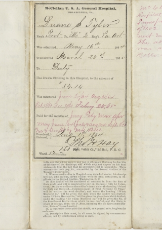 1864 Civil War Document Signed regarding Pvt. Duane L. Tyler, 2nd Pennsylvania Heavy Artillery...