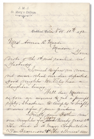 1892 Autograph Letter Signed by School Founder John Downey, i.e., Brother Sabinian, writing from...