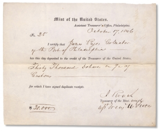 1846 United States Mint Partly-Printed Certificate of Deposit Autographed by Isaac Roach, U.S....