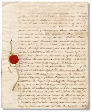 1837 Manuscript Deposition Signed by Charles Tyng (1801–1879), Author of the Seafaring...
