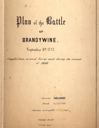 1846 Hand-Colored Map: Plan of the Battle of Brandywine. September 11th, 1777. Compiled from an...