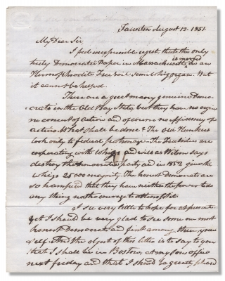 1851 Autograph Letter Signed by Marcus Morton, Massachusetts Governor, Supreme Court Judge, and...