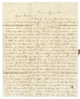 1843 Autograph Letter Signed by M.E. Ellison of Providence, Rhode Island to Her friend in...