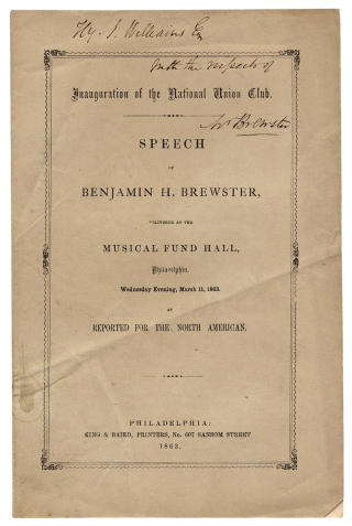 Speech of Benjamin H. Brewster, Delivered at the Musical Fund Hall, Philadelphia. Wednesday...