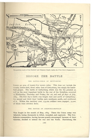 History of the Battle of Gettysburg. Presented, with the compliments of the City Hotel, to guests who use its facilities for driving over the Battlefield [cover title].