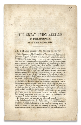 Fugitive Slave Act:] The Great Union Meeting in Philadelphia, On the 21st of November, 1850....