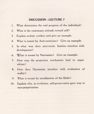 Psycho-Analysis. A Course of Lectures in Theory and Application. [First to Seventh Units]