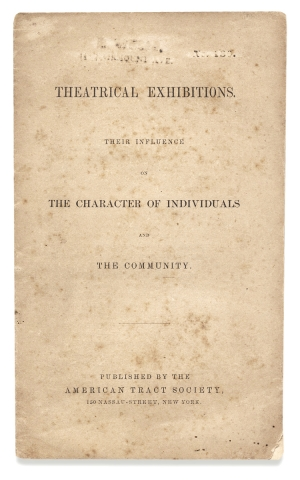 Richmond Fire of 1811] Theatrical Exhibitions. Their Influence on the Characters of Individuals...
