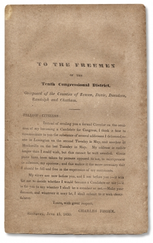 To the freemen of the Tenth Congressional District, Composed of the counties of Rowan, Davie,...