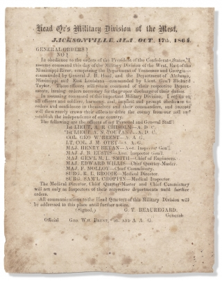 Head Qr's Military Division of the West, Jacksonville, Ala. October 17th, 1864. General Orders...