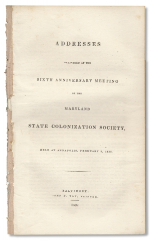 Addresses delivered at the sixth anniversary meeting of the Maryland State Colonization Society,...