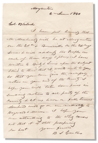 1840 Autograph Letter Signed by Burgess Sidney Gaither, North Carolina Whig Politician and later...