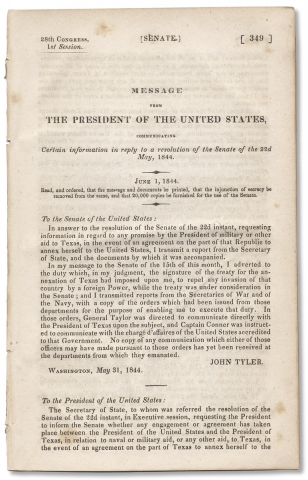 [Texas:] Message From The President of the United States, Communicating Certain Information in Reply to a Resolution of the Senate of the 22d May 1844.