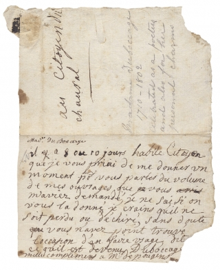 [Autograph Note Signed by Anne-Marie du Boccage, 18th-Century French Writer, Poet, Playwright, and Saloniste].