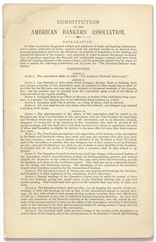 Constitution of the American Bankers' Association. [caption title]