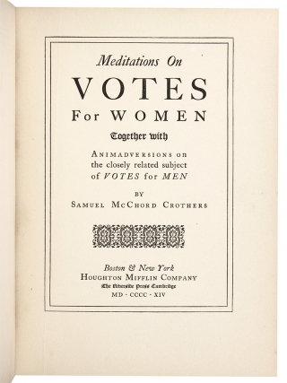 Meditations on Votes for Women.